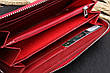Красный кожаный женский кошелек, фото 3