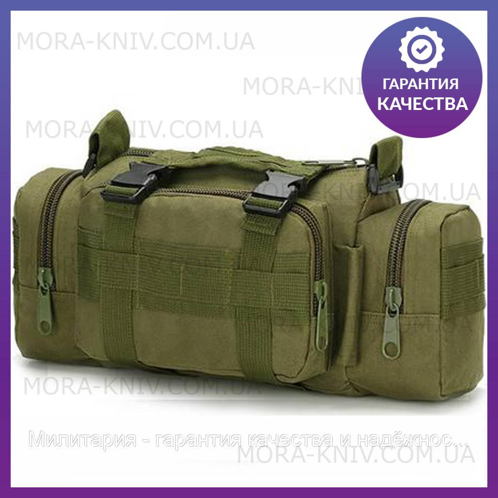 Армейская сумка через плечо на пояс с системой M.O.L.L.E подмумок на разгрузку Olive (104-olive)
