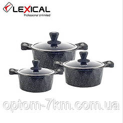 Набор кастрюль 20/24/28см LEXICAL LM-320601-1 антипригарное мраморное покрытие, 6 предметов, Black D