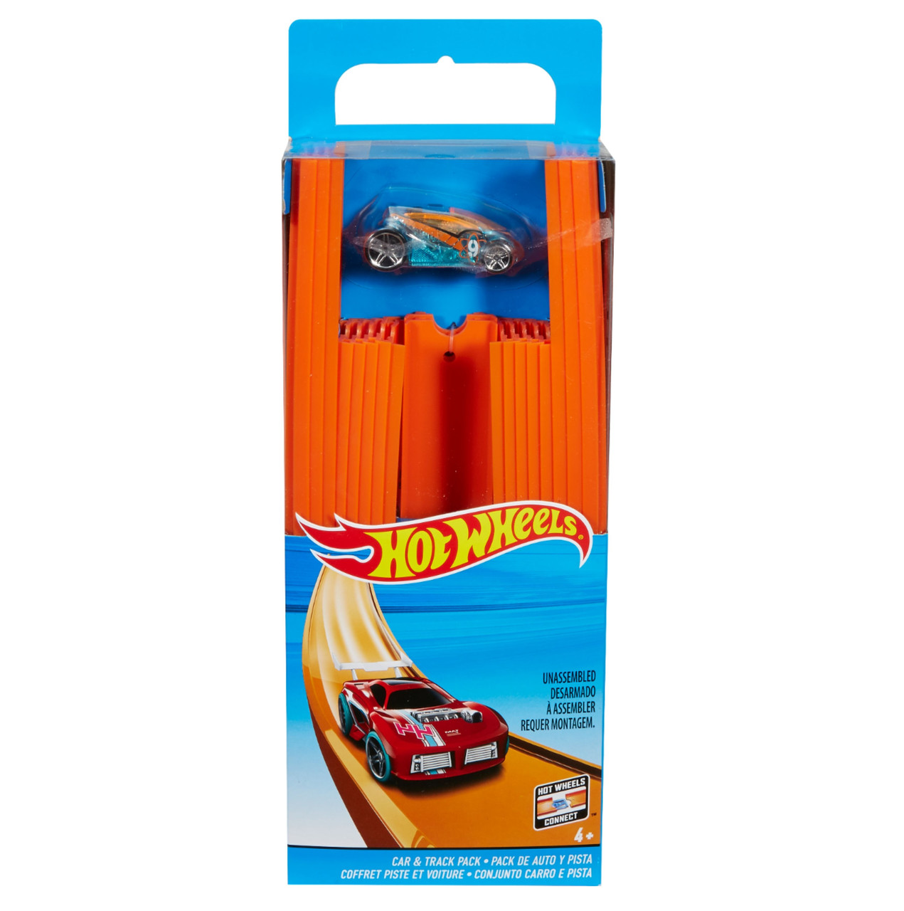 Хот Вилс Оригинал Прямая трасса с машинкой Hot Wheels Track Builder Straight Track with Car (BHT77)