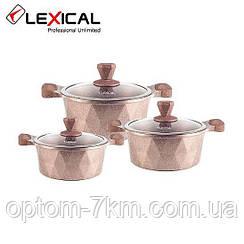 Набор кастрюль 20/24/28см LEXICAL LM-320601-5 антипригарное мраморное покрытие, 6 предметов, Golden D