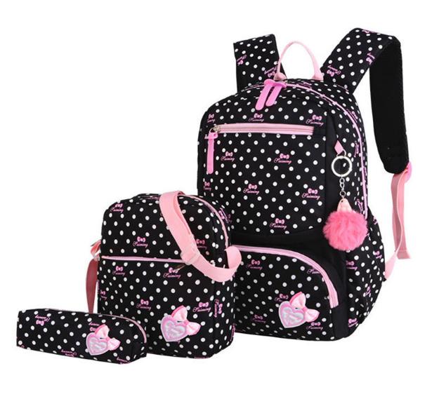 Рюкзак школьный женский. Набор 3 в 1 для девочки черный в горошек+брелок в подарок.
