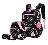 Рюкзак школьный женский. Набор 3 в 1 для девочки черный в горошек+брелок в подарок., фото 1