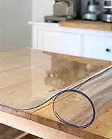 Мягкое стекло Силиконовая защитная скатерть для стола и мебели Soft Glass (2.6х1.0м) Толщина 1.5мм Прозрачная