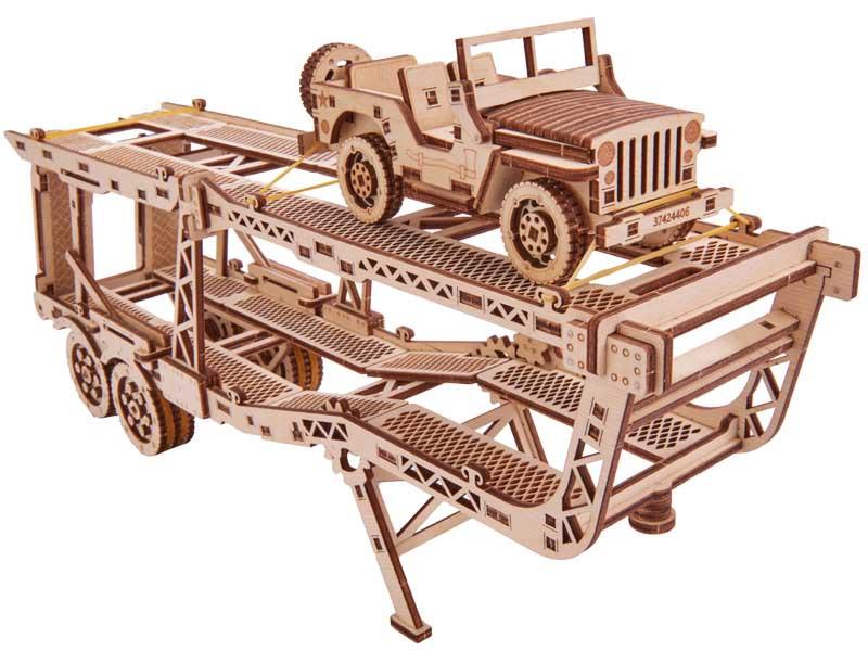 Пазл-конструктор из дерева «Прицеп автовоз» 229 деталей