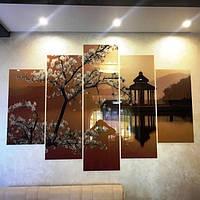 Картина модульная из стекла - Сакура на озере - 5 частей - Малый размер