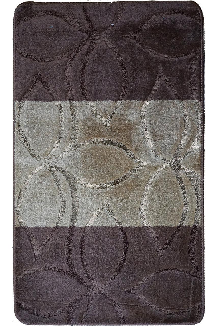 """Набор ковриков для ванной, 60х100 + 60х50см. """"Листья"""", цвет бежево-коричневый"""