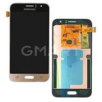 Дисплей для Samsung J120H Galaxy J1 2016 золотистый (TFT экран, тачскрин, стекло в сборе), Дисплей Samsung J120H Galaxy J1 2016 золотистий (LCD екран,