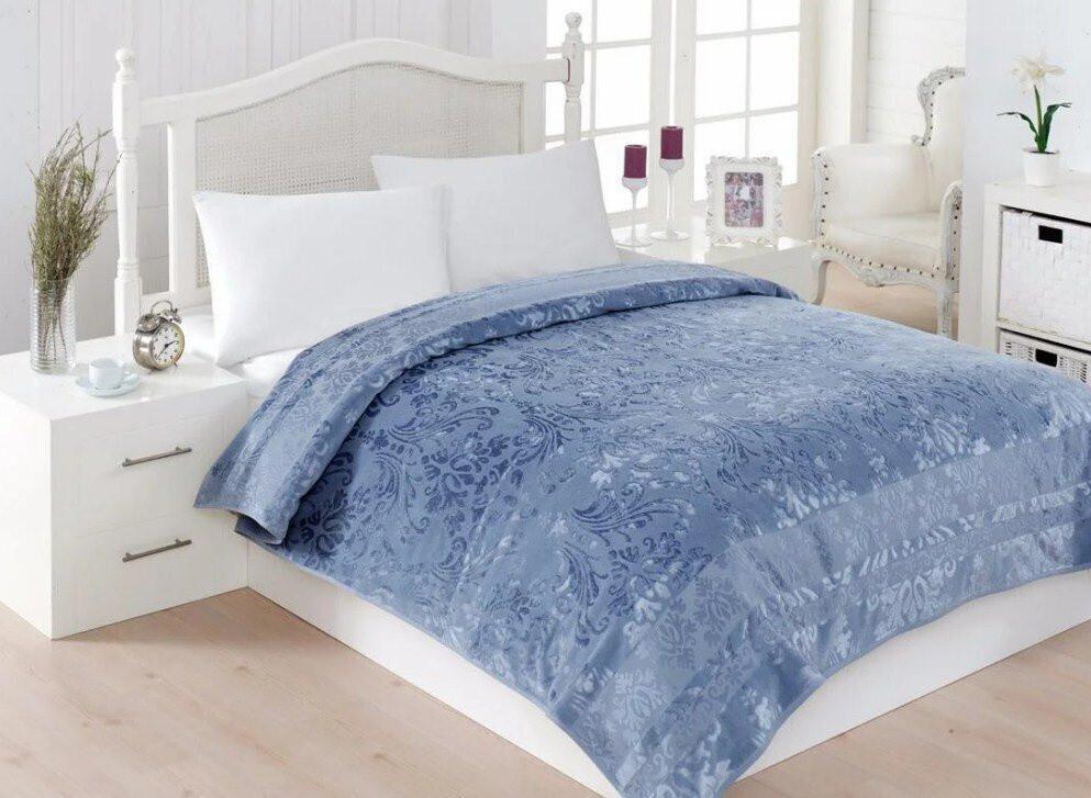 Велюровая махровая простынь Cestepe Bamboo Blue 200х220