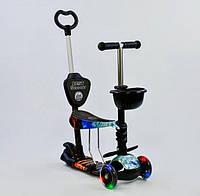 Самокат детский трёхколёсный с родительской ручкой Best Scooter 21500 светятся колёса (чёрный абстракция)