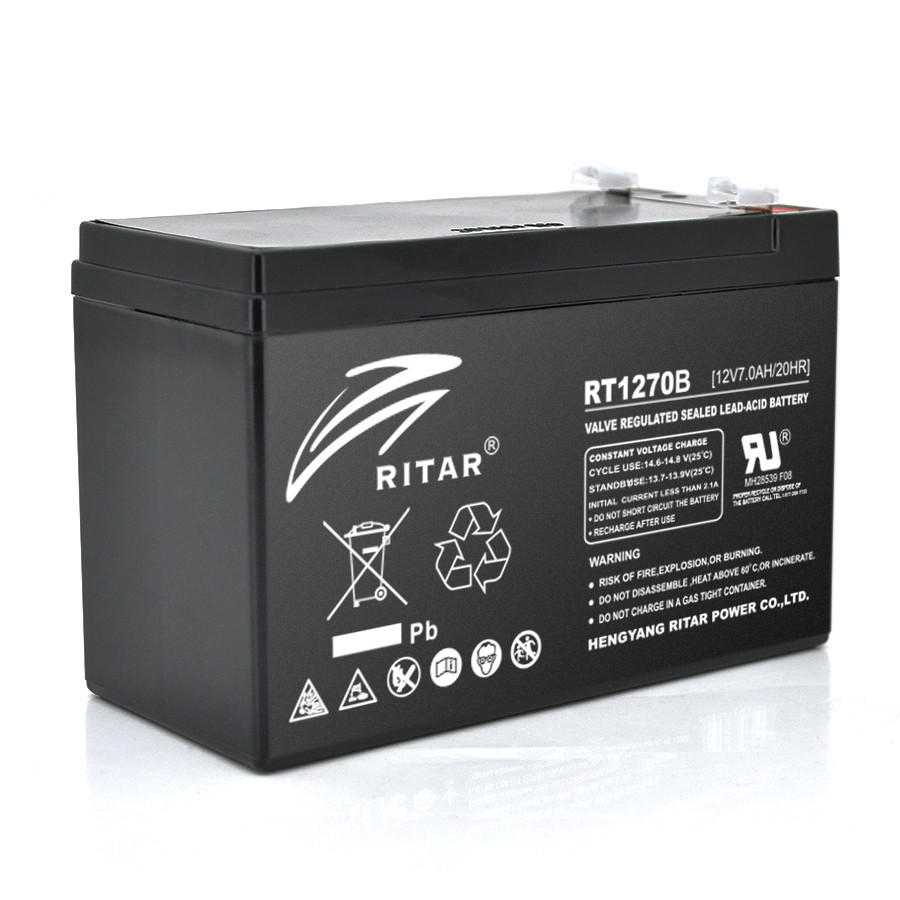 Акумуляторна батарея AGM RITAR RT1270B, Black Case, 12V 7.0Ah  ( 151 х 65 х 94 (100) ) Q10
