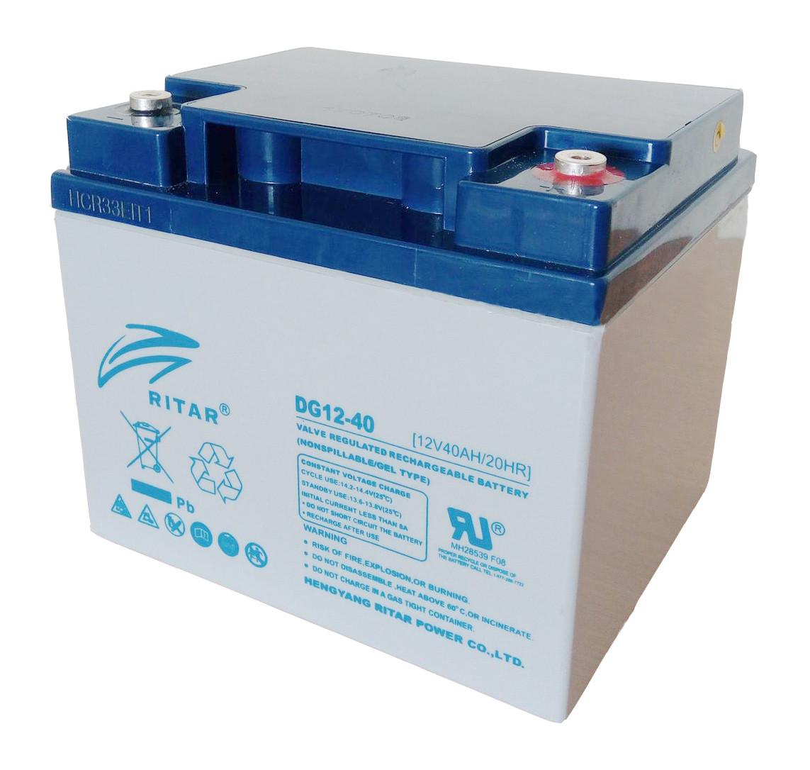 Аккумуляторная батарея GEL RITAR DG12-40, Gray Case, 12V 40.0Ah  ( 198 х 166 х 169 (169) ) Q1
