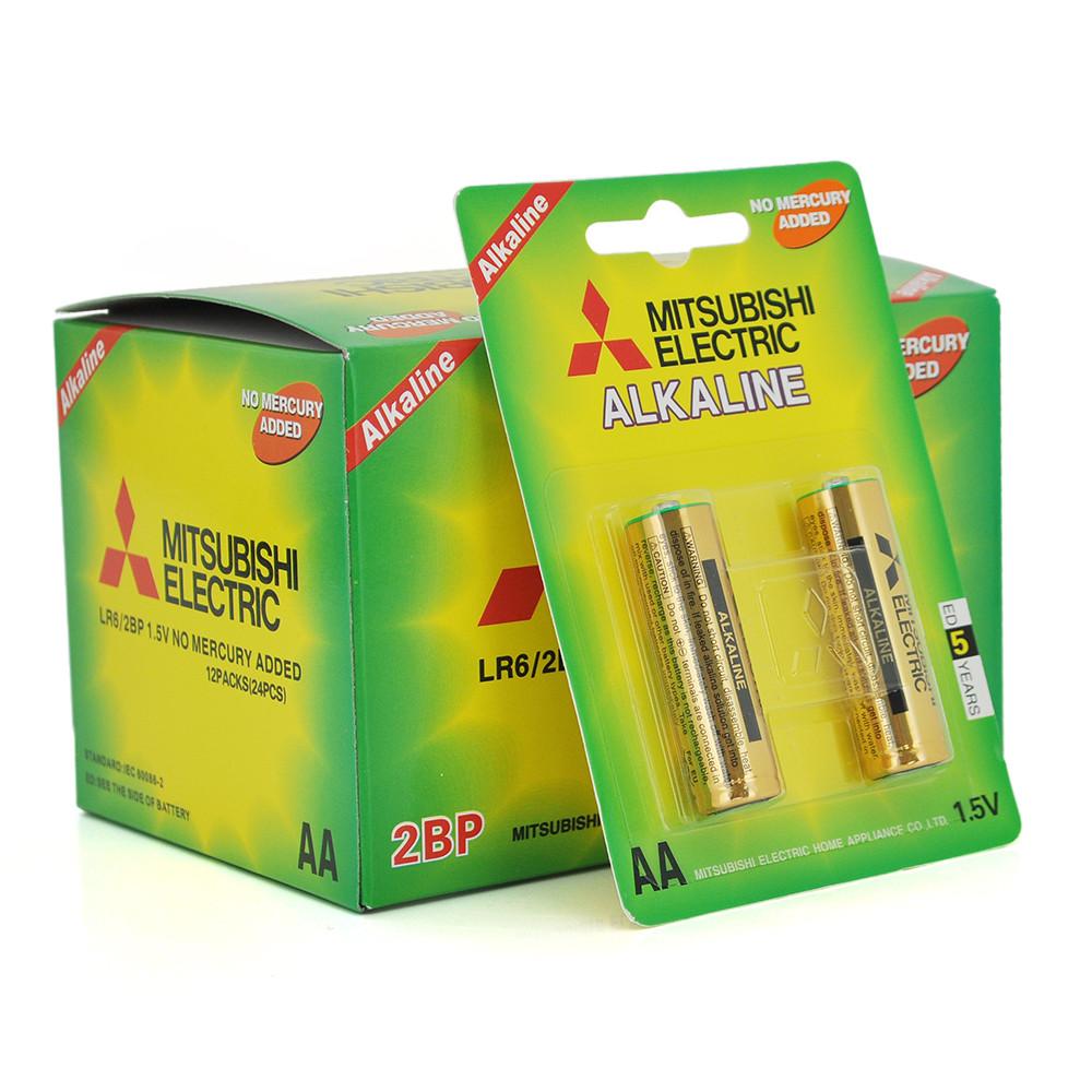 Батарейка лужна MITSUBISHI 1.5V AA / LR6, 2pcs / card, 24pcs / inner box, 288pcs / ctn