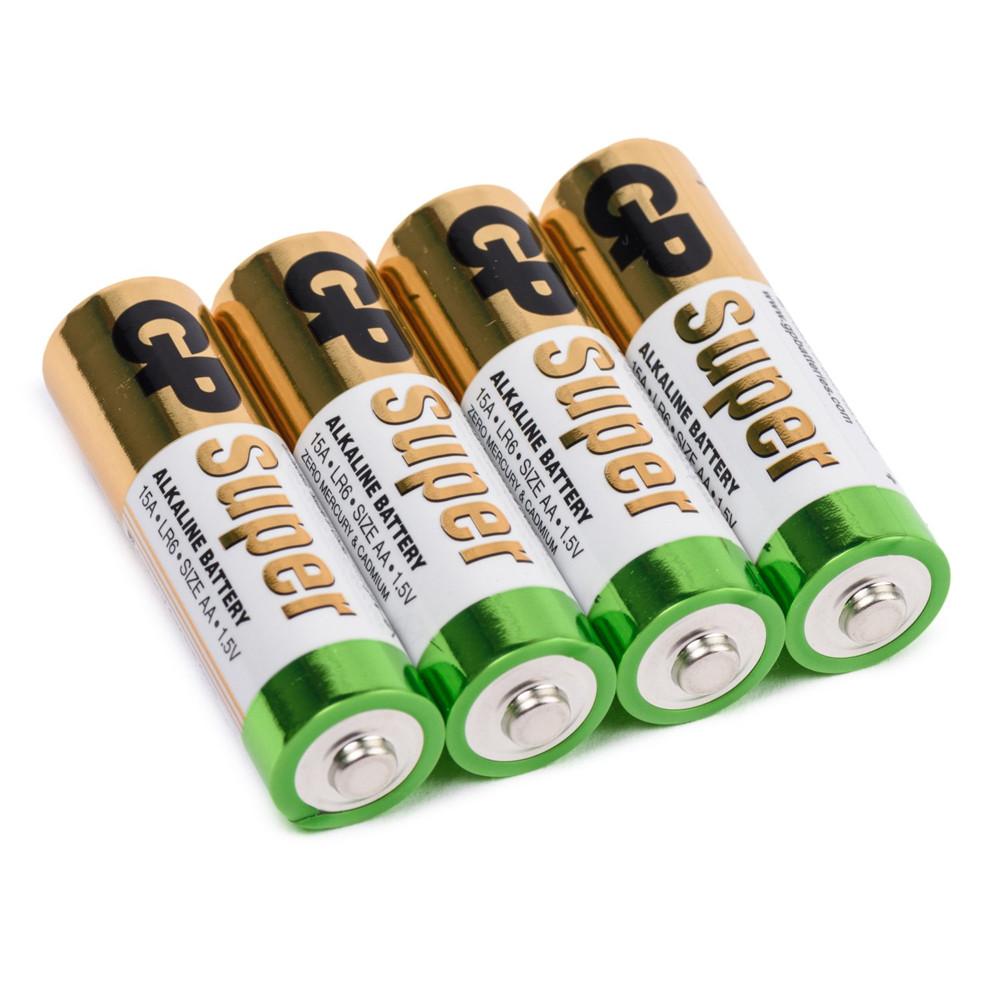 Батарейка GP Super 15A-S4, лужна AA, 4 шт у вакуумній упаковці, ціна за упаковку