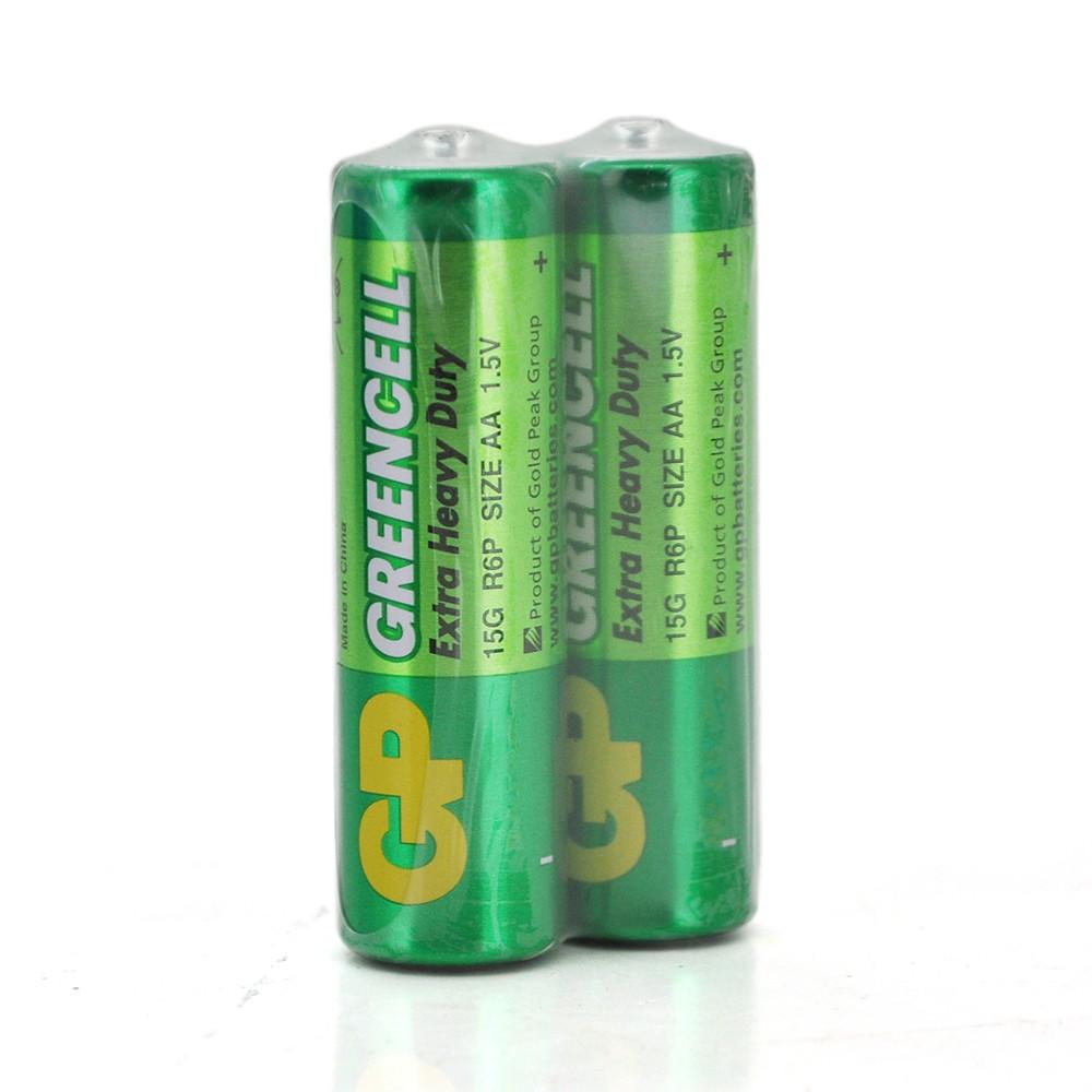 Батарейка сольова GP Greencell 15G-2S2, AA, 2 шт у вакуумній упаковці, ціна за упаковку