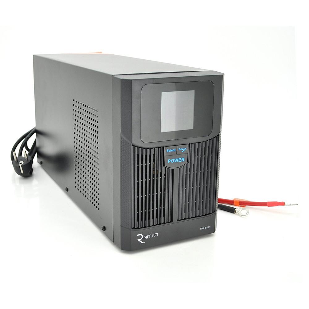 ДБЖ з правильною синусоїдою RITAR RTSW-1500 LCD (1000Вт), 24В, під зовнішній АКБ, Q1 (500*245*350) 14,9 кг (400*145*210)