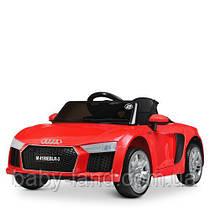 Детский электромобиль Audi M 4190 EBLR-3, кожаное сиденье, красный