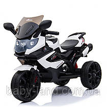 Детский мотоцикл с кожаным сиденьем M 3986EL-1 белый