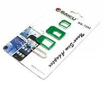 Перехідник для SIM карт BAKKU BK-7292 3 в 1, micro-nano, micro-sim, nano-sim, Green, Plastic