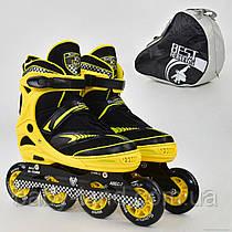 """Ролики Best Roller 6014 """"L"""" , размер 39-42, без света, d=9см, желтые"""