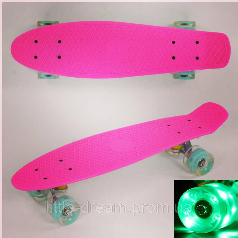 Пенниборд ( скейтборд, скейт ) маленький лонгборд Best Board , светящиеся колёса