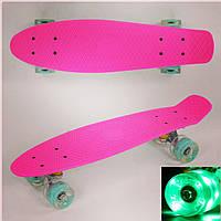 Пенниборд ( скейтборд, скейт ) маленький лонгборд Best Board (Penny Board) , светящиеся колёса