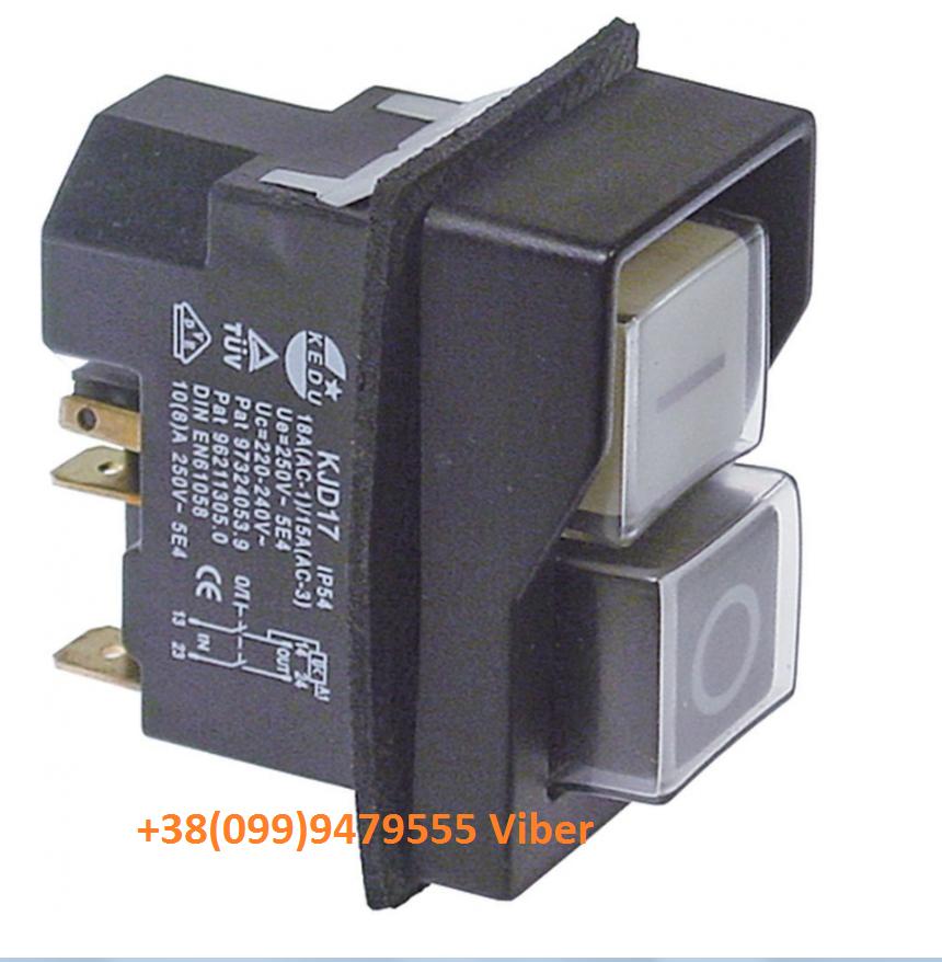 Выключатель кнопочный KJD17 (45х22 мм) 347067 для слайсера Sirman, Fimar, Fama и др.