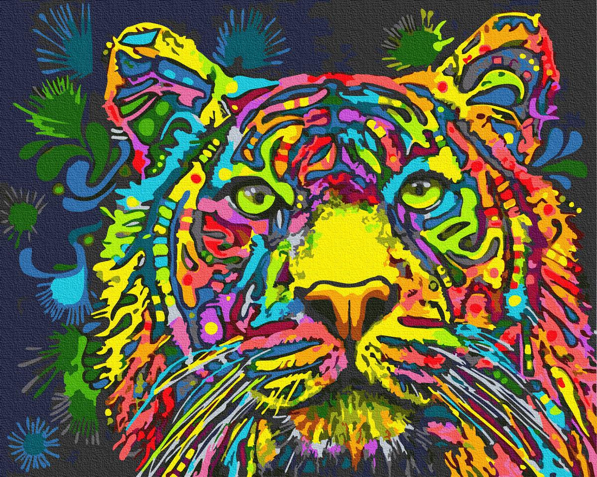 Картина за номерами 40х50см. GX34578 Різнобарвний тигр Rainbow