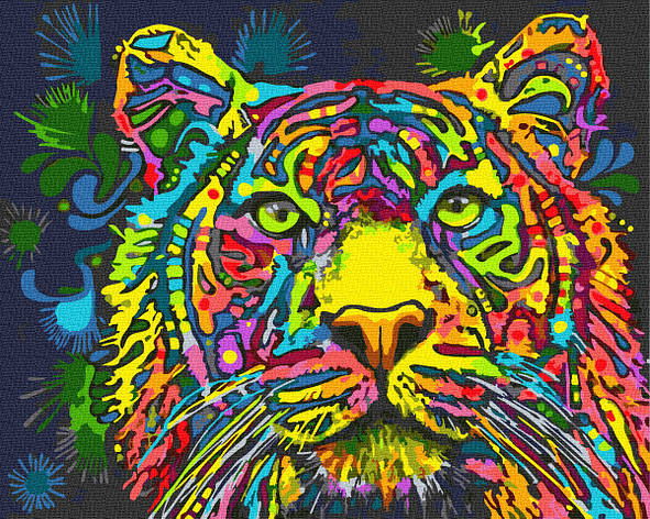 Картина за номерами 40х50см. GX34578 Різнобарвний тигр Rainbow, фото 2