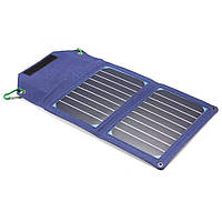 Power bank 8000 mAh Solar, (5V / 200mA), 2xUSB, 5V / 1A / 2,1A, USB  microUSB, ударо захищений прогумований корпус, Blue, Corton BOX