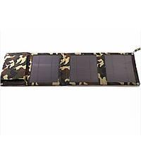 Power bank 5000 mAh Solar, (5V / 200mA), 2xUSB, 5V / 1A / 1A, USB  microUSB, волого / ударо захищений прогумований корпус, карабін, Khaki, Corton BOX