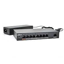 Комутатор POE Dahua DH-PFS3009-8ET-96 48V з 8 портами POE 100Мбит + 1 порт Ethernet (UP-Link) 100Мбит, корпус - метал, Black, БП в комплекті