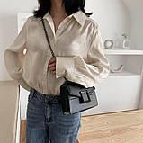 Женская классическая сумочка кроссбоди на цепочке ремешке черная, фото 3