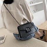 Женская классическая сумочка кроссбоди на цепочке ремешке черная, фото 5