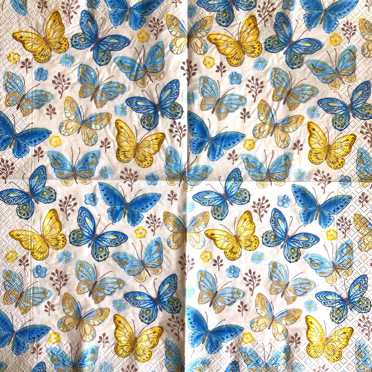 """Салфетки для декупажа 33x33 см 20 """"Бабочки разноцветные"""" салфетка декупажная. Серветка для декупажу"""