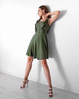 Модний легкий жіночий сарафан на літо з натуральної тканини хакі