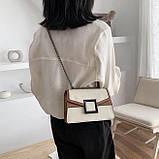 УЦЕНКА! Женская классическая сумочка кроссбоди на цепочке ремешке белая коричневая, фото 4