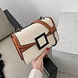 УЦЕНКА! Женская классическая сумочка кроссбоди на цепочке ремешке белая коричневая, фото 6