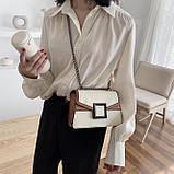 УЦЕНКА! Женская классическая сумочка кроссбоди на цепочке ремешке белая коричневая, фото 3