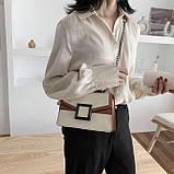 УЦЕНКА! Женская классическая сумочка кроссбоди на цепочке ремешке белая коричневая, фото 5