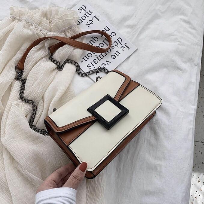УЦЕНКА! Женская классическая сумочка кроссбоди на цепочке ремешке белая коричневая