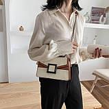 УЦЕНКА! Женская классическая сумочка кроссбоди на цепочке ремешке белая коричневая, фото 2