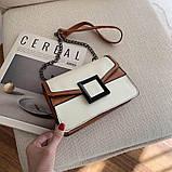 УЦЕНКА! Женская классическая сумочка кроссбоди на цепочке ремешке белая коричневая, фото 7