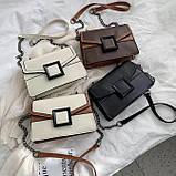 УЦЕНКА! Женская классическая сумочка кроссбоди на цепочке ремешке белая коричневая, фото 8