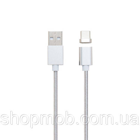 USB кабель для зарядки Cable Magnetic Clip-On Type-C Цвет Стальной, фото 2