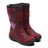 Мембранные сапожки Kapika для девочки, бордовые на молнии, размер 27-32