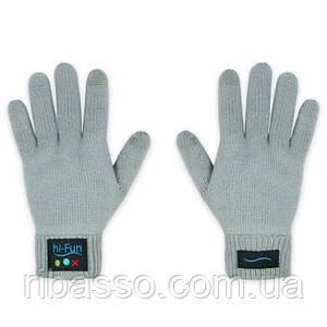 Перчатки с функцией Bluetooth и встроенным микрофоном. Серые, мужские