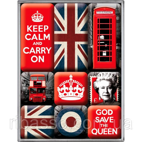 """Набор из 9 магнитов """"United Kingdom"""" Nostalgic Art (83059)"""