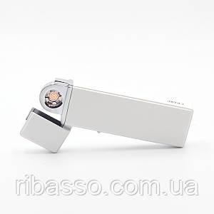 Беспламенная зажигалка SLIM DOUBLE USB, спираль, белая