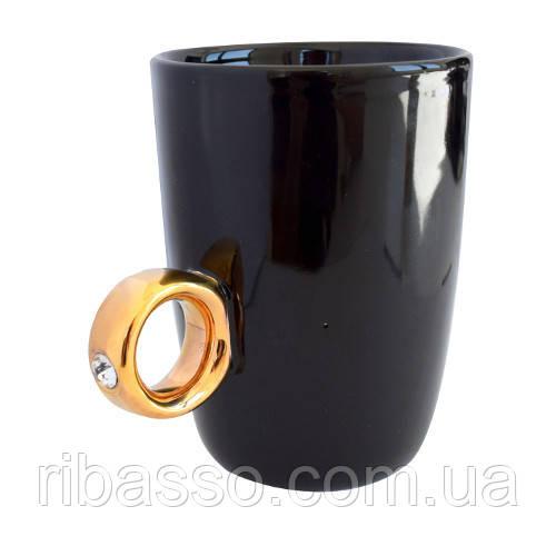 """Чашка """"Золотое кольцо"""", черная"""